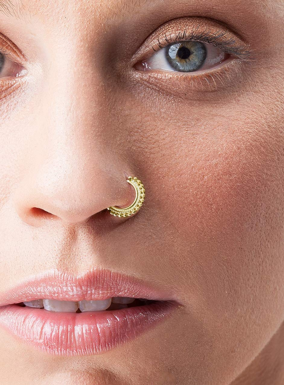 Amazon Com Tribal Nose Ring Gold Plated Handmade Nostril