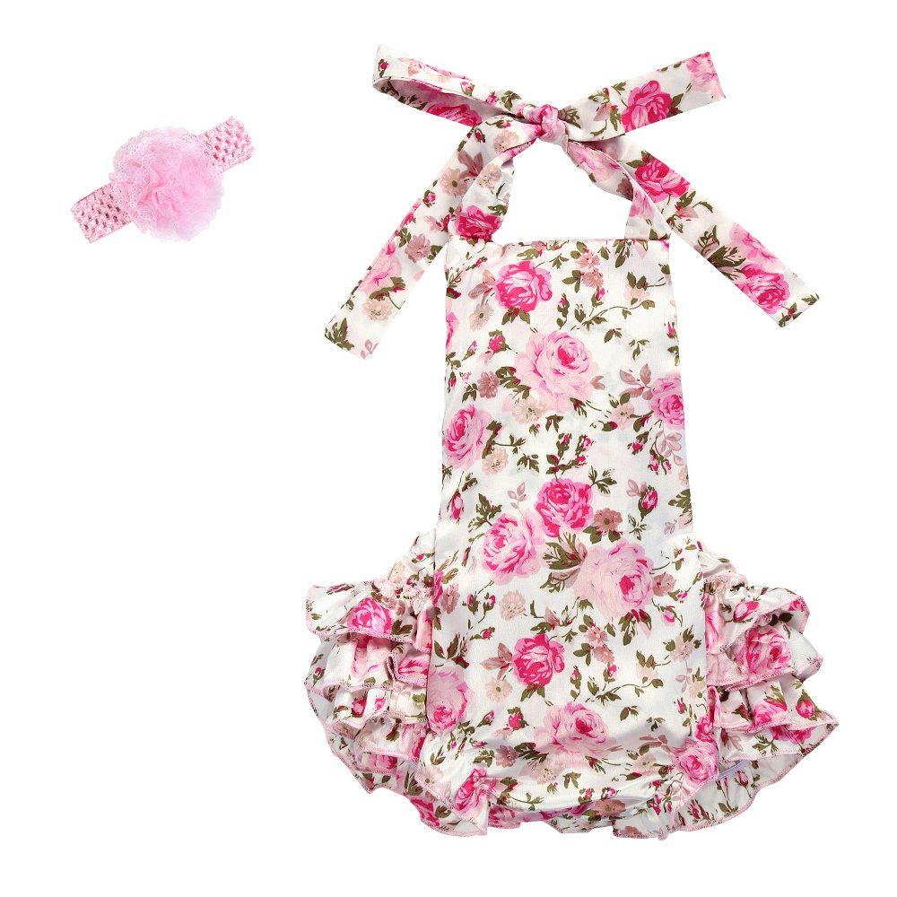 IWEMEK Baby Girl Floral Lace Print 1st Birthday Ruffle Romper Bodysuit Outfits