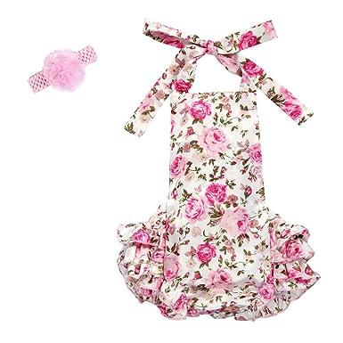 fa2a46a26d91 Amazon.com  IWEMEK Baby Girl Floral Print 1st 2nd Birthday Cake ...