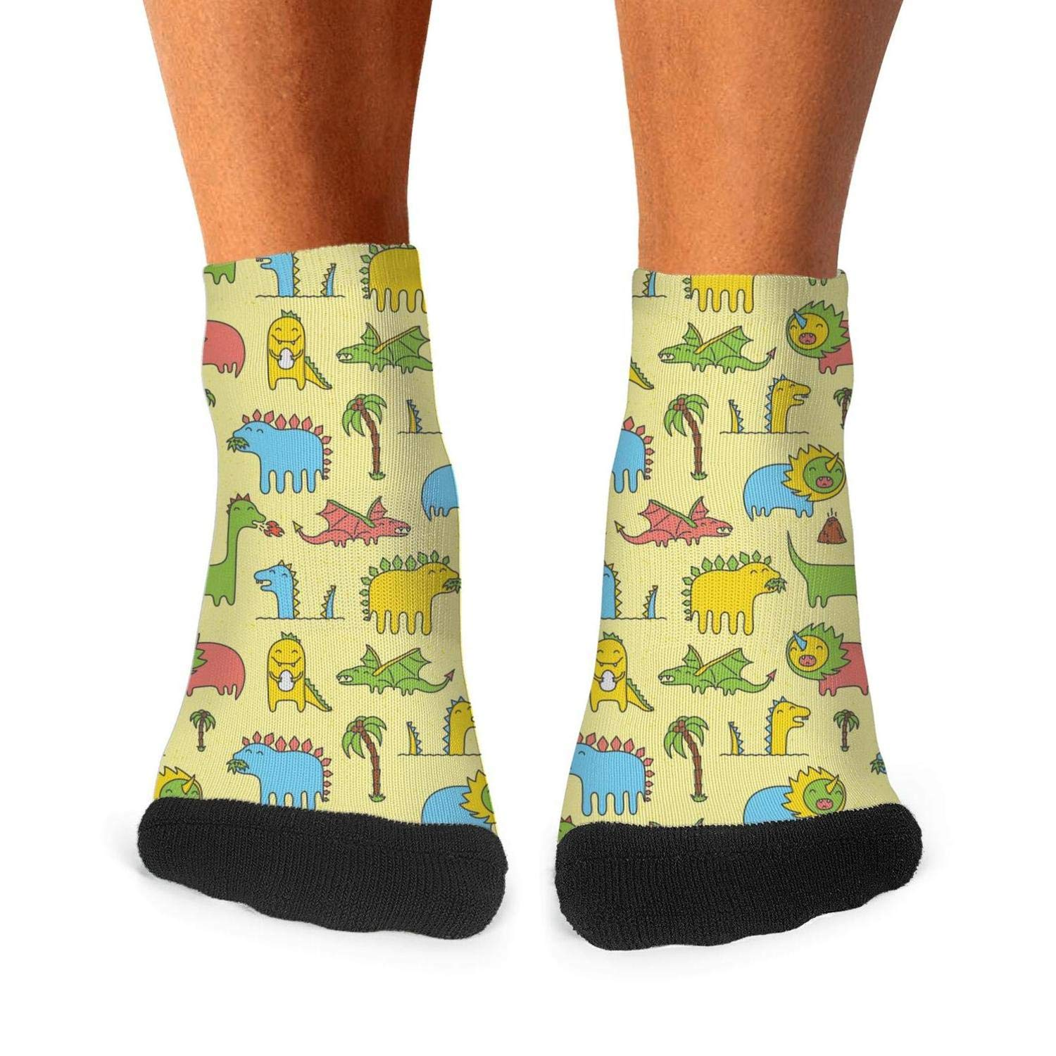 Mens Athletic Low Cut Ankle Sock Cute Dinosaurs Yellow Party Short Outdoor Sock