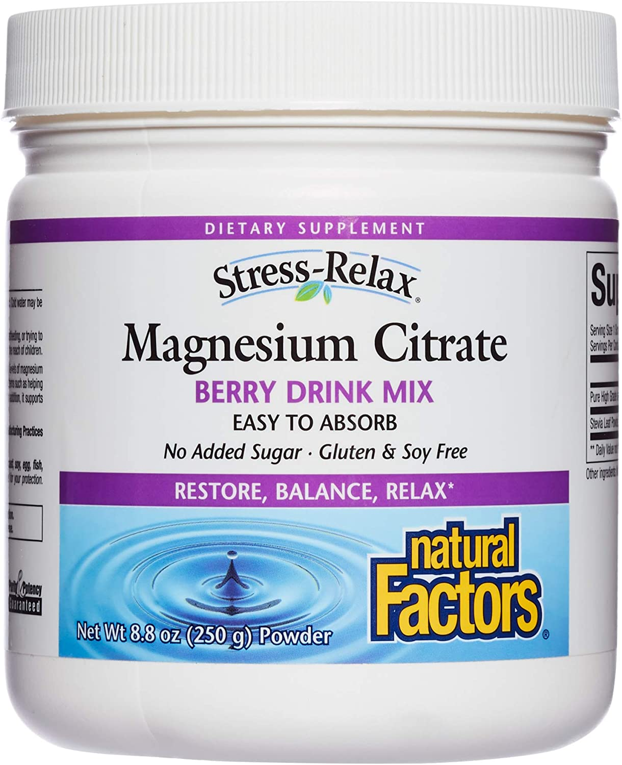 Stress-Relax Magnesium Citrate Drink Mix by Natural Factors, Restores Normal Levels of Magnesium & Balances Calcium Intake, Non-GMO, Berry Flavor, 8.8 oz (75 servings)