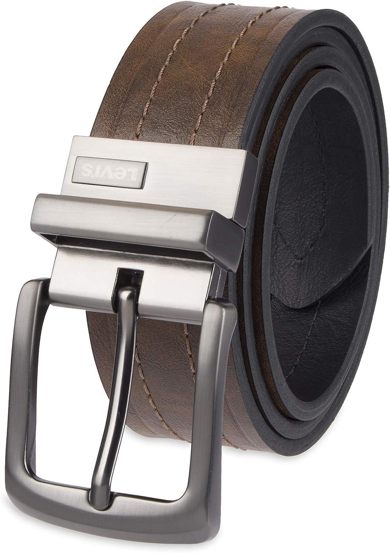 Levi de hombre mm Reversible cinturón con hebilla de color plateado oscuro