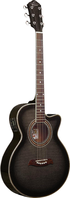 Oscar Schmidt OG10CEFYS-A-U Concert-Size Cutaway Acoustic-Electric Guitar Flame Yellow Sunburst