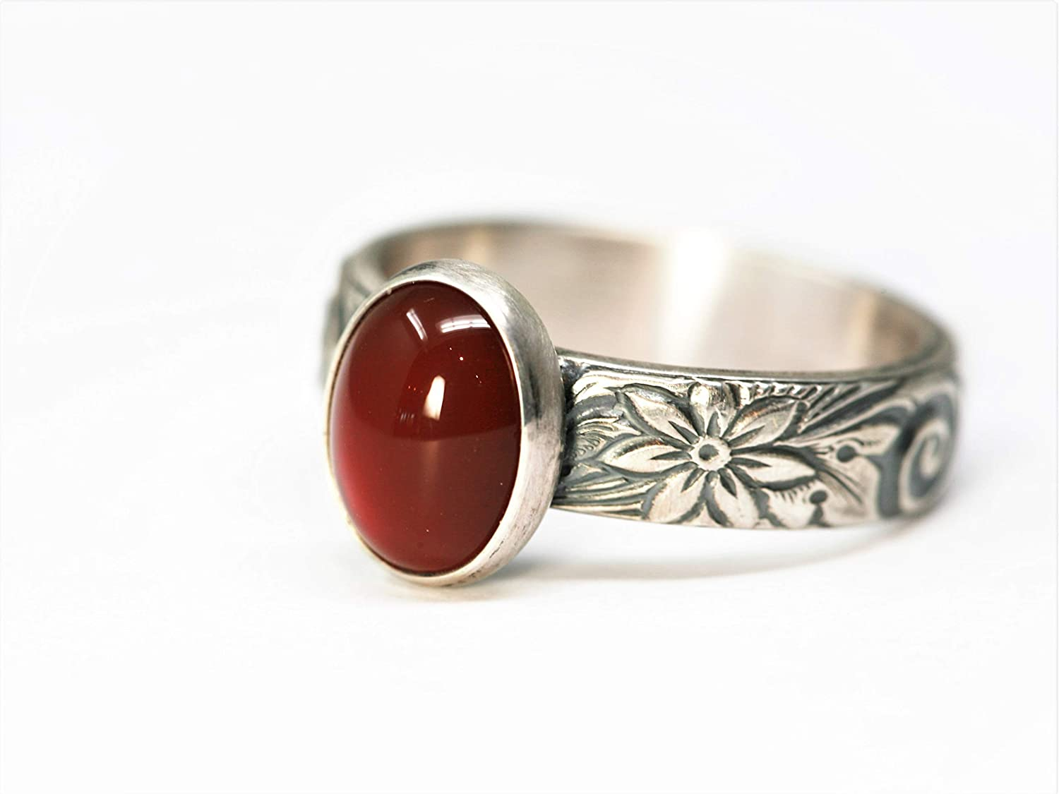 Carnelian and Sterling Silver Ring on Floral Pattern Band in Antique Finish