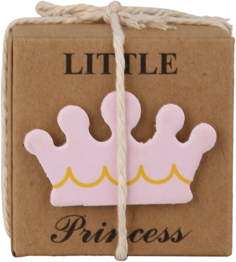 LASLU Little Princess Baby Shower Favor Boxes + 50pcs Twine Bow, Rustic Kraft Paper Candy Bag Box for Baby Shower Party Supplies Cute 1st Birthday Girl Decoration (50pcs, Pink)