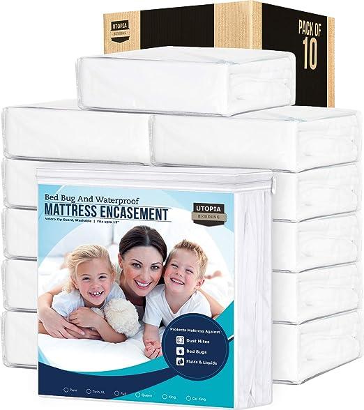 "Water /& Bed Bug Proof Mattress Encasement 3-Side Zipper 10/"" Pocket ~ Queen *NEW*"