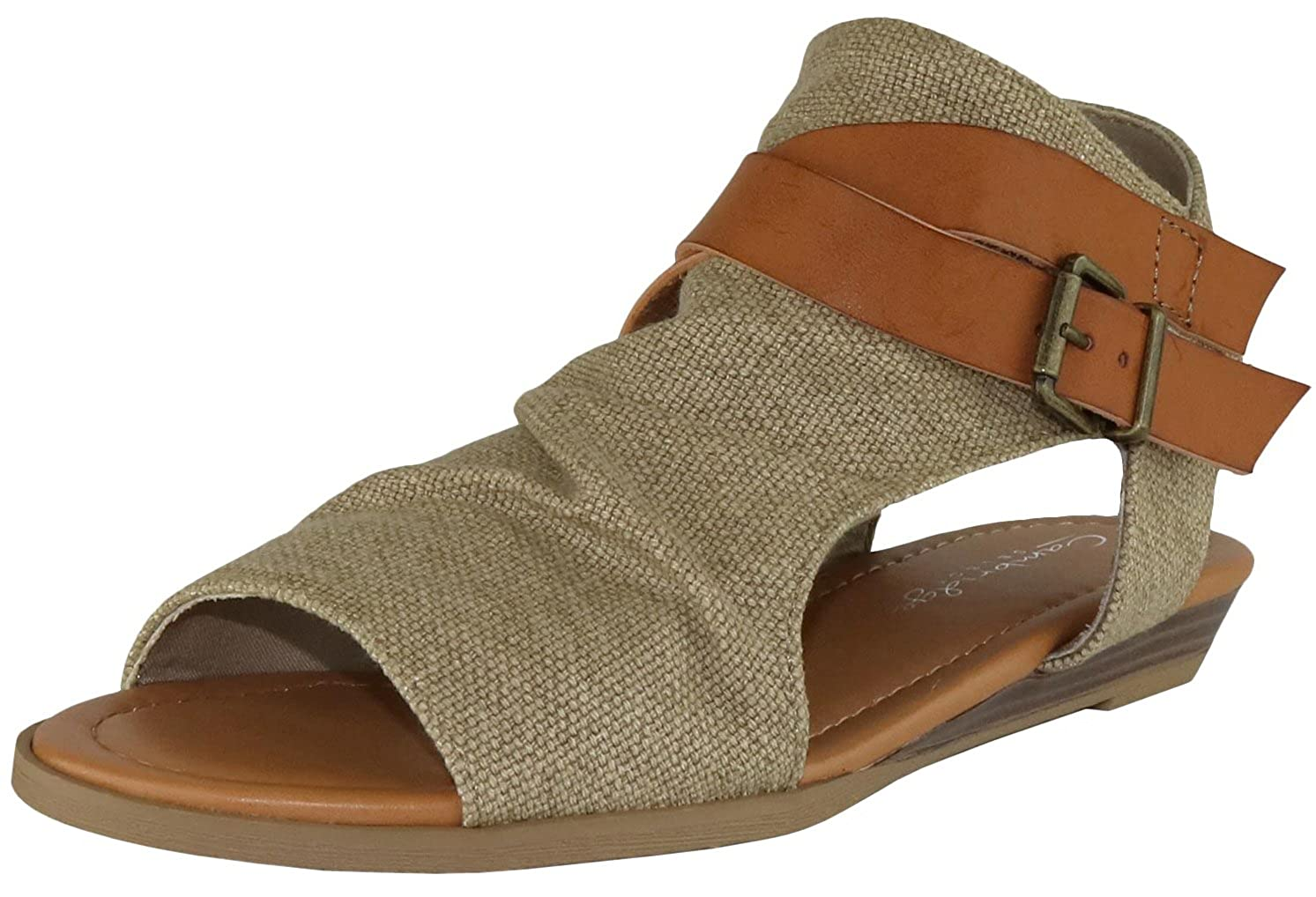 Natural Cambridge Select Women's Crisscross Strappy Buckle Cutout Stacked Low Wedge Sandal