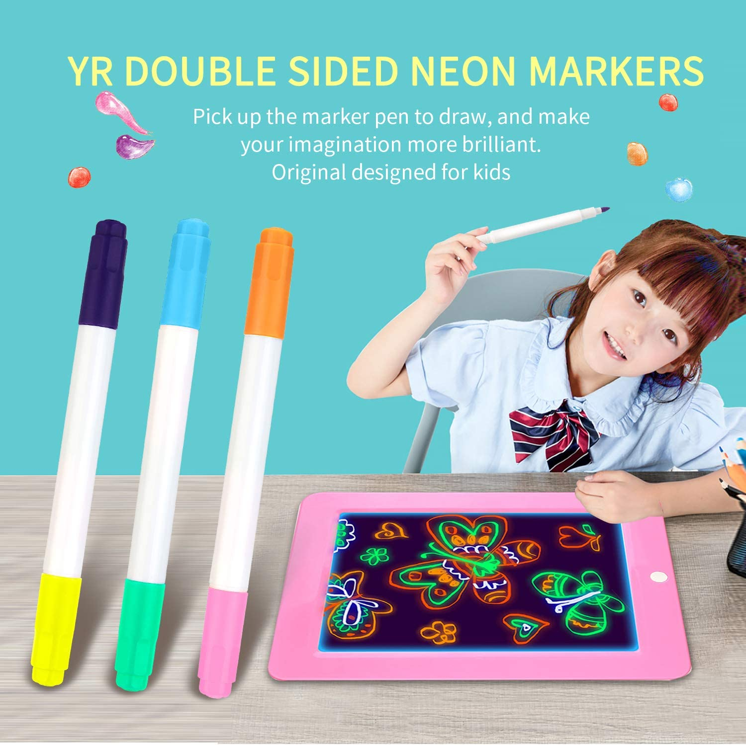 Create YR Dual Sided Neon Pens for Light Up LED Board Doodle Sketch Art 6 Packs Neon Markers Applicable for Draw Learning Tablet Write