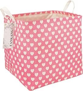 FANKANG Square Storage Bins Nursery Hamper Canvas Laundry Basket Foldable with Waterproof PE Coating Large Storage Baskets Gift Baskets for Kids, Office, Bedroom, Clothes,Toys (Square Pink Heart)