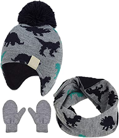 Baby Warm Fleece Winter Hat and Mitten Set Toddler Kids Winter Earflap Cap Set