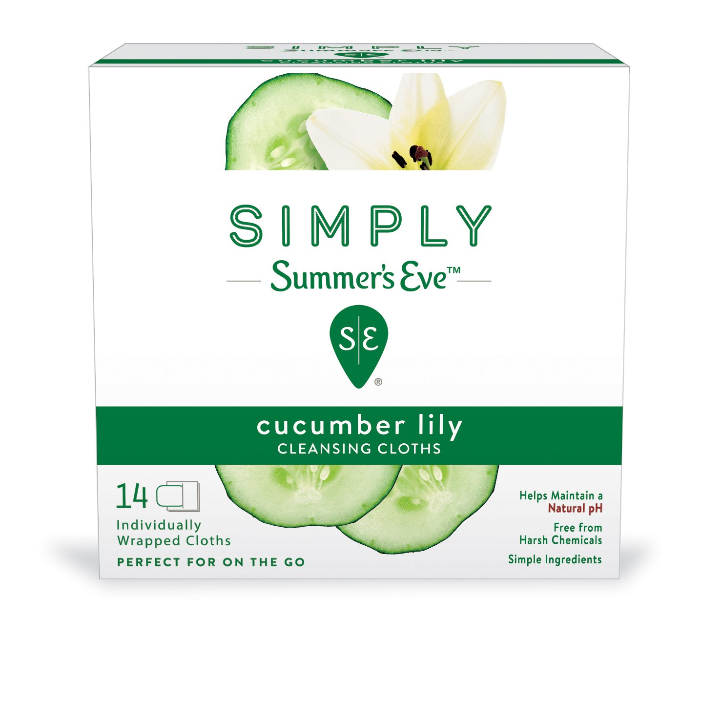 Simply Summer's Eve Cleansing Cloths, Cucumber Lily, 14 Count (Pack of 2)