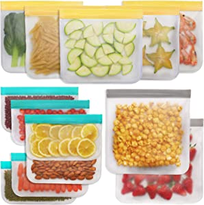 Jagrom Reusable Storage Bags (13 Pack) 2 Gallon & 5 Sandwich Lunch Bags & 6 Small Kids Snack Bags For Food, EXTRA THICK Reusable Food Bags, Reusable Freezer Bags, Reusable Ziplock Bags, BPA FREE