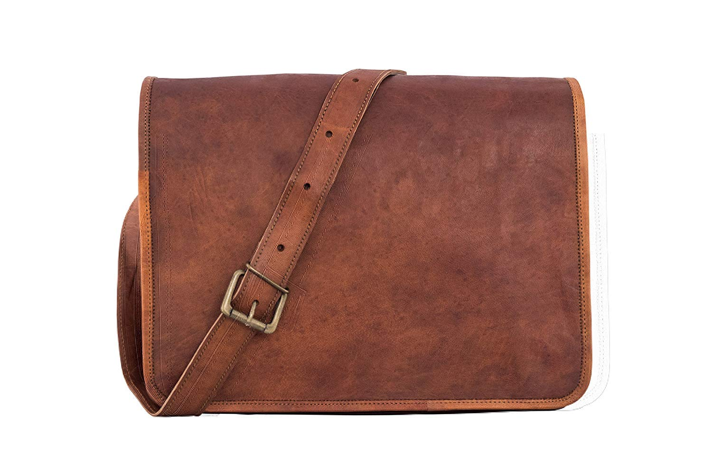 LBC LH by Cuero Messenger Bag 16 Cuero Flap Flap Laptop Bag Bolsa de Cuero ecol/ógica