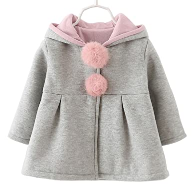 Baby Hoodies 6 Months Baby Girls Toddler Kids Winter Big Ears Hoodie Jackets Outerwear Coats(Grey,2T,XL/10)
