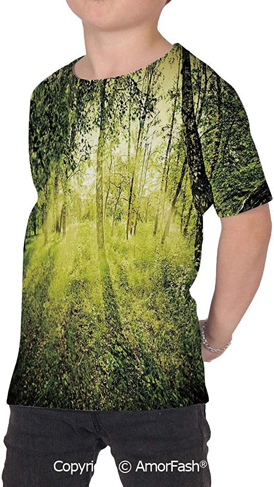 Magical Colorful Boys and Girls Soft Short Sleeve T-Shirt,Freshening Morning in