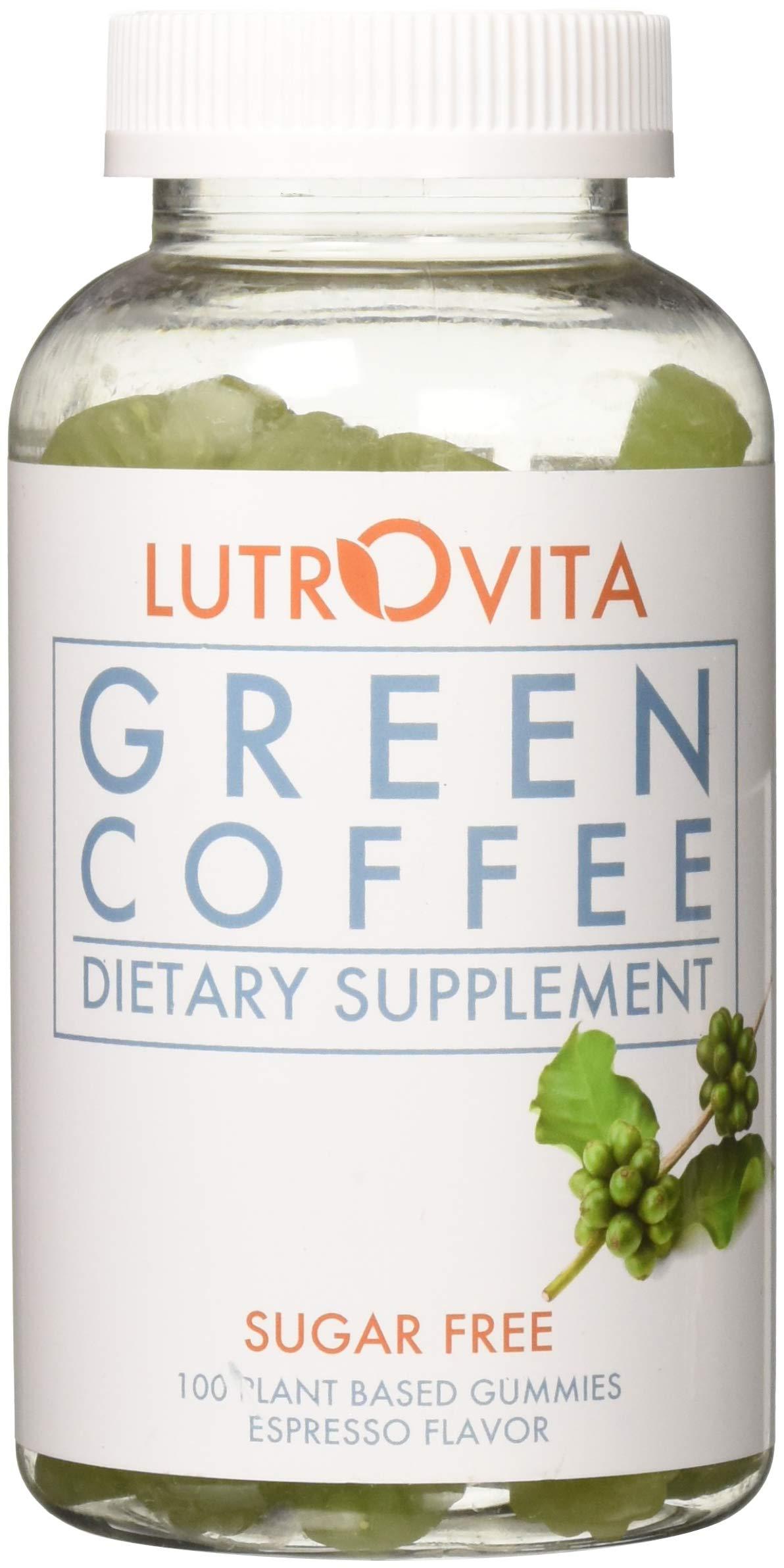 Lutrovita Sugar Free Green Coffee Gummy, Expresso, 100 Count