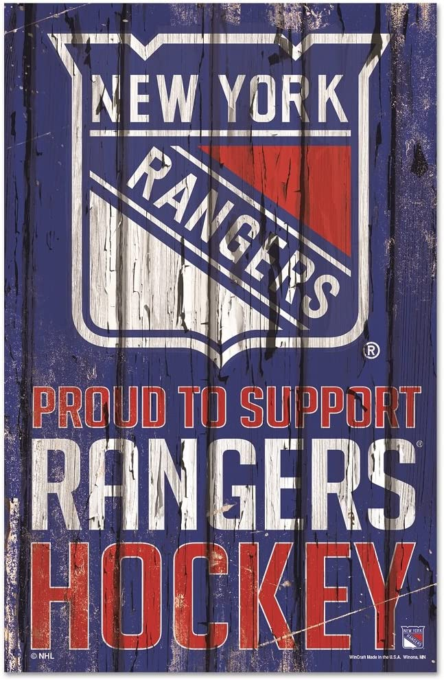 WinCraft NHL New York Rangers Sports Fan Home Decor, Team Color, 11x17