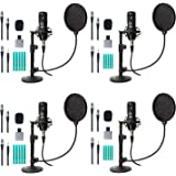 Movo 4-Pack Universal Cardioid Podcasting Microphone Bundle with Tabletop Mic Stand and Pop Filter, for 3.5mm, XLR or USB Out