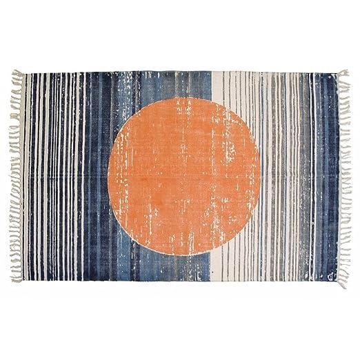 Design Baumwolteppich Kreis Muster Orange Blau Teppich Wohnzimmer