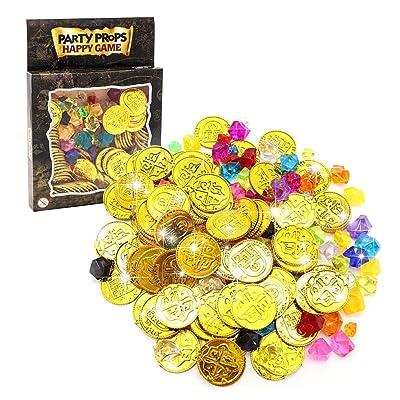 200 piezas de lotería promocionales accesorios Maya Juego de fichas de plástico de oro juego de fichas de decoraciones, 16.3 × 2.5 × 22 cm: Hogar