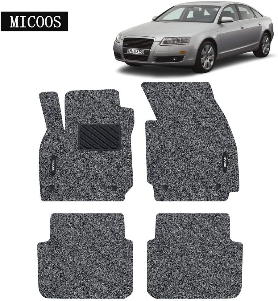 Gray and Black MICOOS Compatible with Car Floor Mat Carpet Audi A6 2005-2011 All Weather Heavy Duty Floor Mat Set Waterproof Stain-Resistant