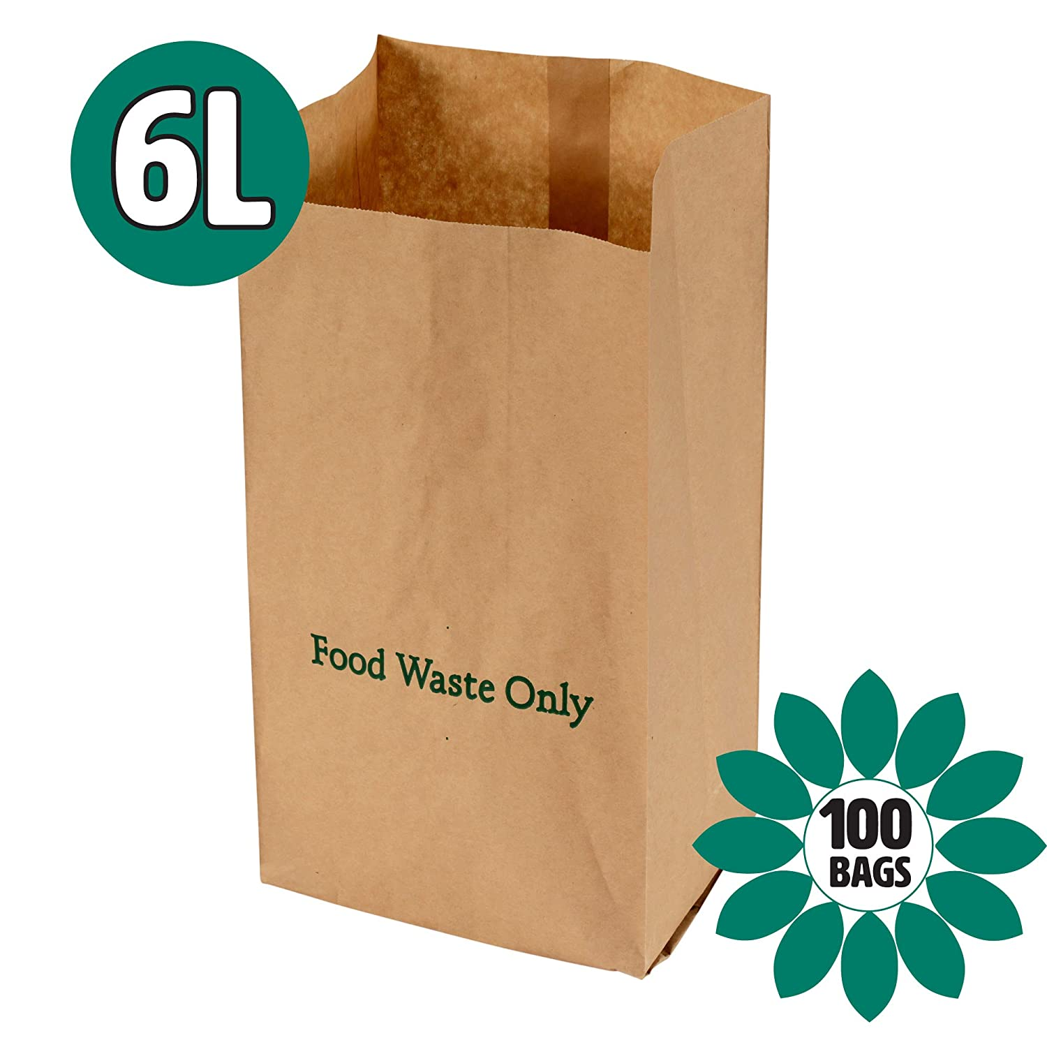 All-Green 6 Litre Paper Compostable Brown Caddy Food Waste Bin Liners – 100 x 6L bags