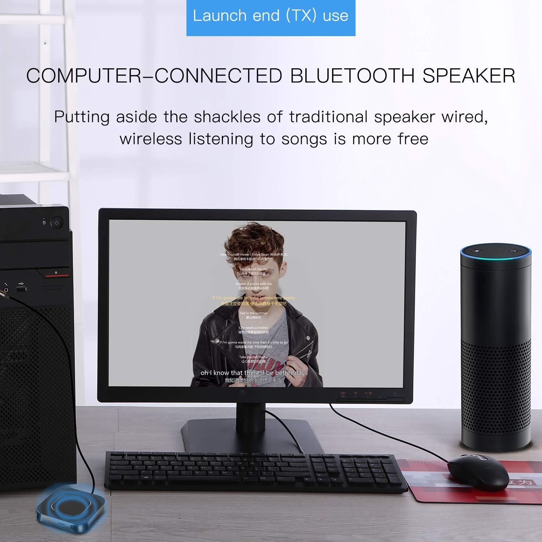 SOOTEWAY Adaptador Bluetooth 5.0 Transmisor Receptor 2 en 1 Empareja 2 receptores Jack 3,5 mm Baja latencia para TV/Coche/Audio/Música: Amazon.es: Electrónica