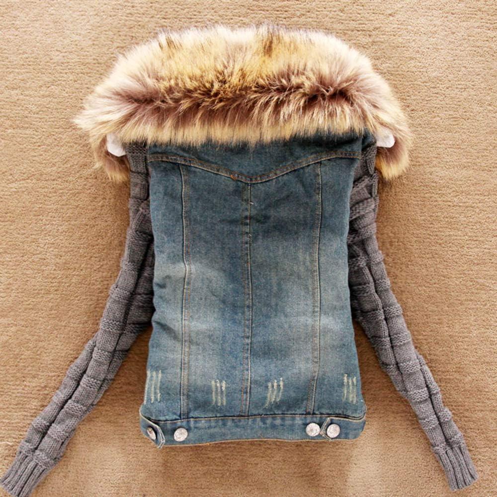 YM YOUMU Women White Faux Fur Fleece Denim Short Jacket Thicken Jean Sherpa Coat
