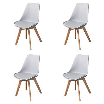 4er Hellgrau Essstühle Küchenstühle Esstischstühle Mit Holzbeine