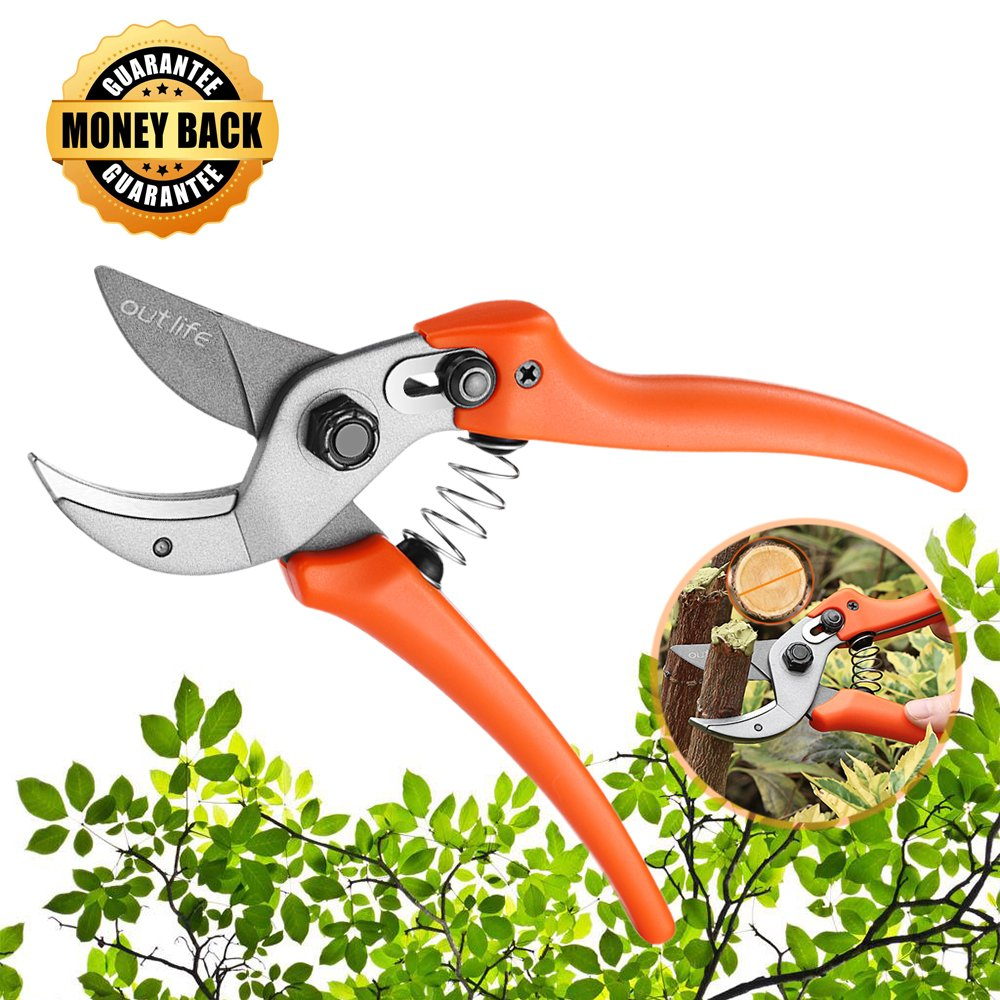 OUTLIFE Professional Steel Bypass Pruning Shears, Hand Pruner, Garden Clippers Tree Trimmers Secateurs with Safety Lock for Effortless Cuts