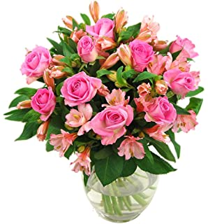 Clare Florist Pink Rosmeria Roses And Alstroemeria Fresh Flower Bouquet