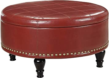 Amazon Com Leather Storage Ottoman Round With Nailhead Trim Accent Living Room Coffee Table Crimson Red Furniture Decor