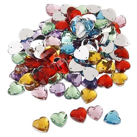 d36f32884ba6 Color Mezclado Cristal Botón De Costura Del Corazón Decoración Artesanía  Bricolaje 14mm 100pcs