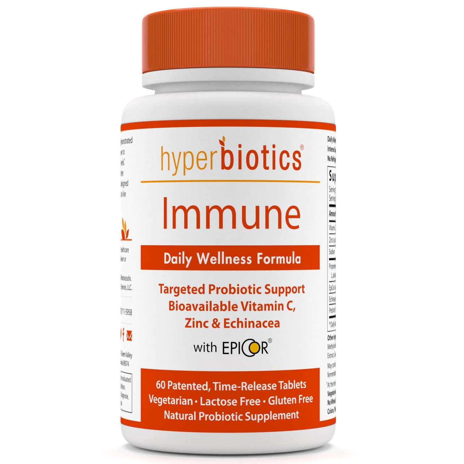 Immune: Hyperbiotics Daily Immune & Wellness Formula - Probiotics with Bioavailable Vitamin C, Zinc, Echinacea & EpiCor (Saccharomyces Cerevisiae) - Time Release Delivery - 30 Day Supply
