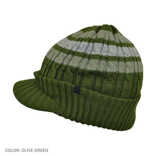 438d18438fe Jaxon Striped Cable Knit Visor Beanie Hat (1-Size