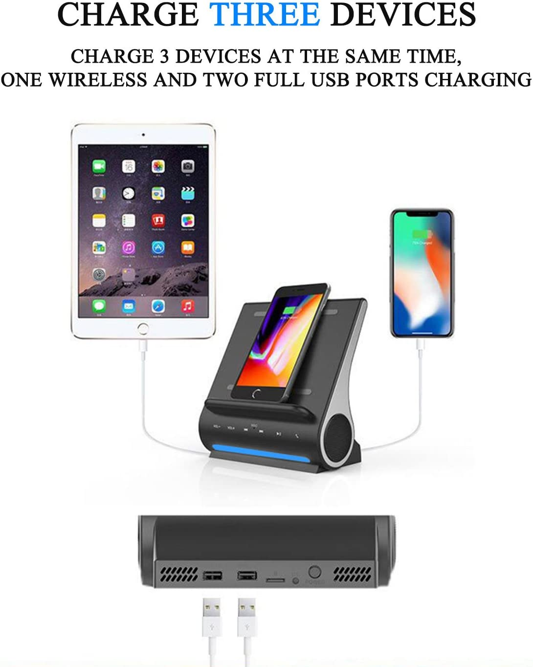Azpen Dockall D108 Wireless Charging Dock w//Bluetooth Speakers Qi-Certified Wireless for 7.5W Charging with iPhone Xs Max//XR//XS//S// 8// 8Plus// 10W for Galaxy S10// S9// S9 Gray S8// Note 9 Renewed