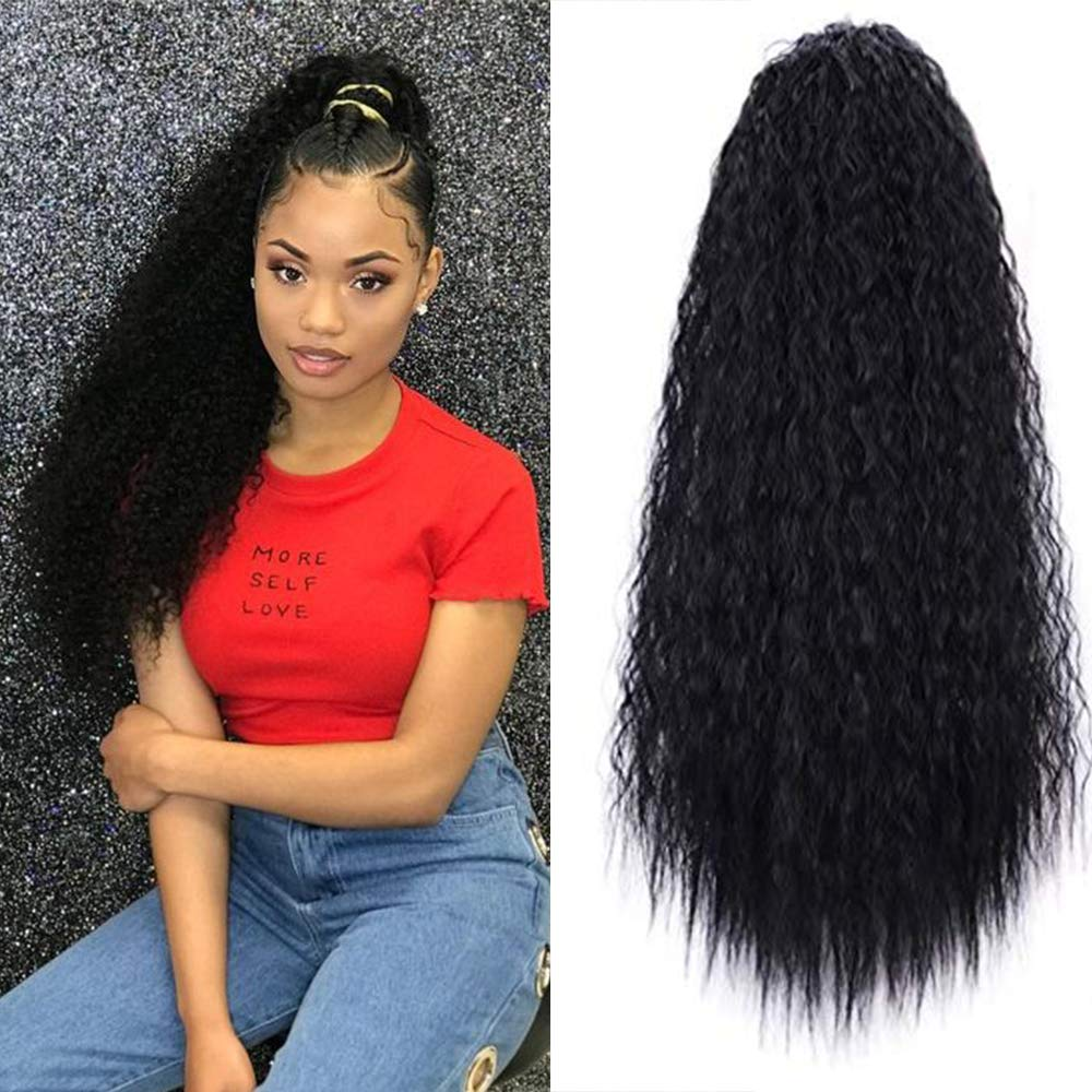22 Inch Long Curly Kinky Straight Wave Clip in Ponytail Drawstring for Black Woman Hair Extension High Puff Afro Natural Black Color by Artemis Hair