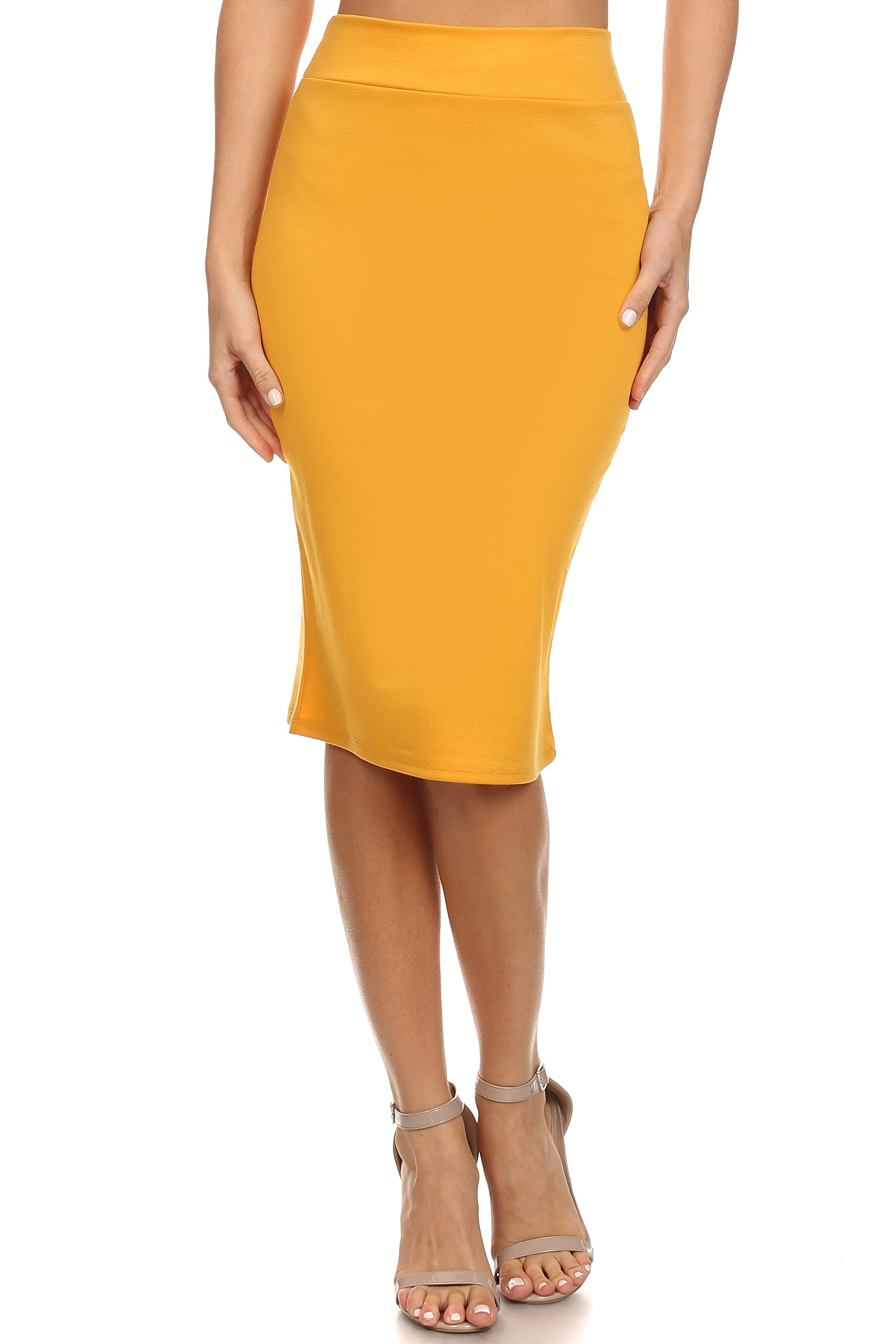 Women's Below the Knee Pencil Skirt for Office Wear - Made in USA ,Mustard ,Small