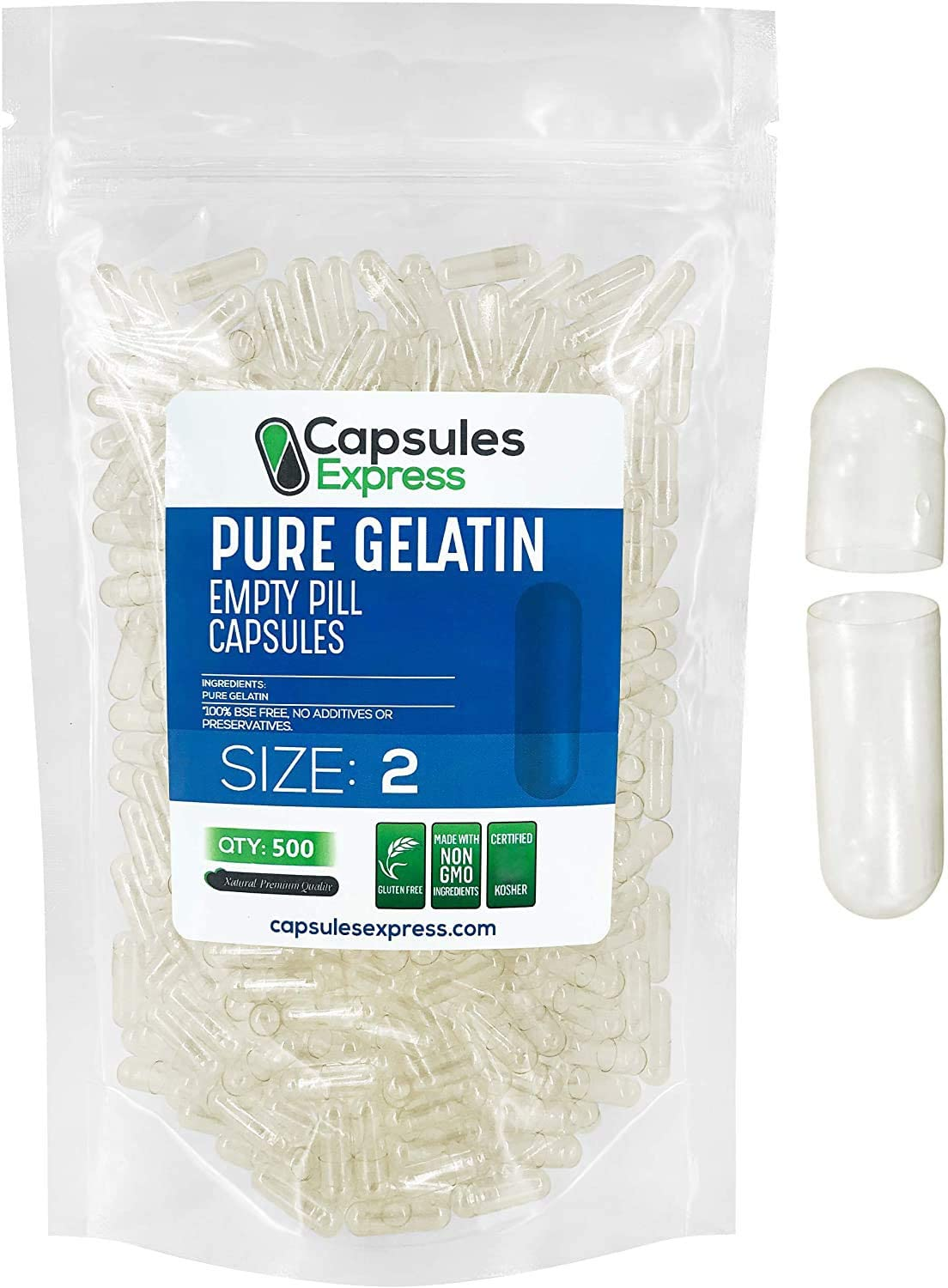 Capsules Express- Size 2 Clear Empty Gelatin Capsules 500 Count - Kosher and Halal - Pure Gelatin Pill Capsule - DIY Powder Filling