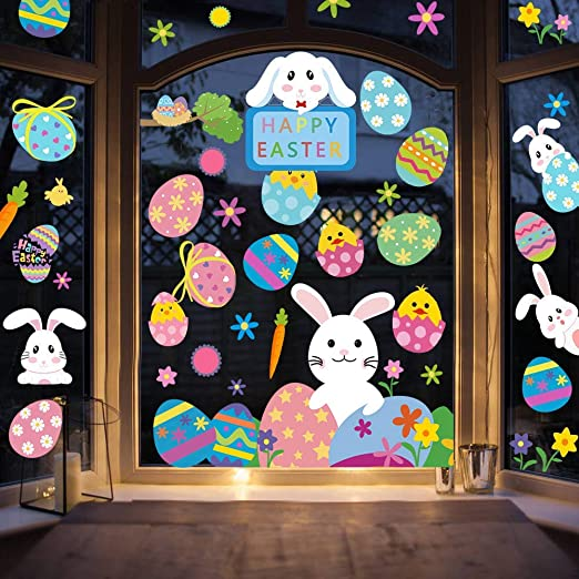 Stickers4 Small Happy Easter with Birds Easter Window Decoration Seasonal window stickers