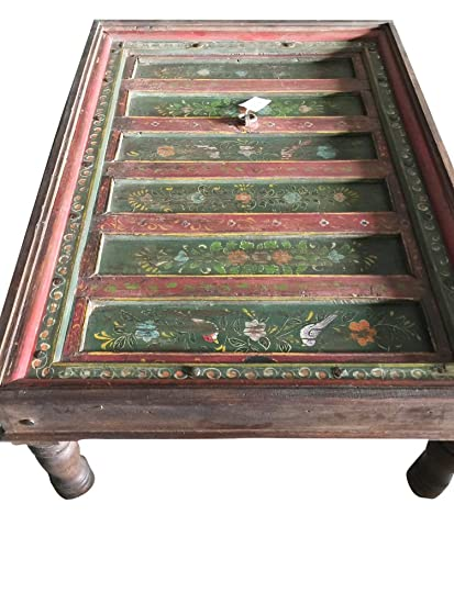 Mogul Interior Antique Coffee Table Jaipur Floral Hand Painted Jharokha  Rectangle Green Table