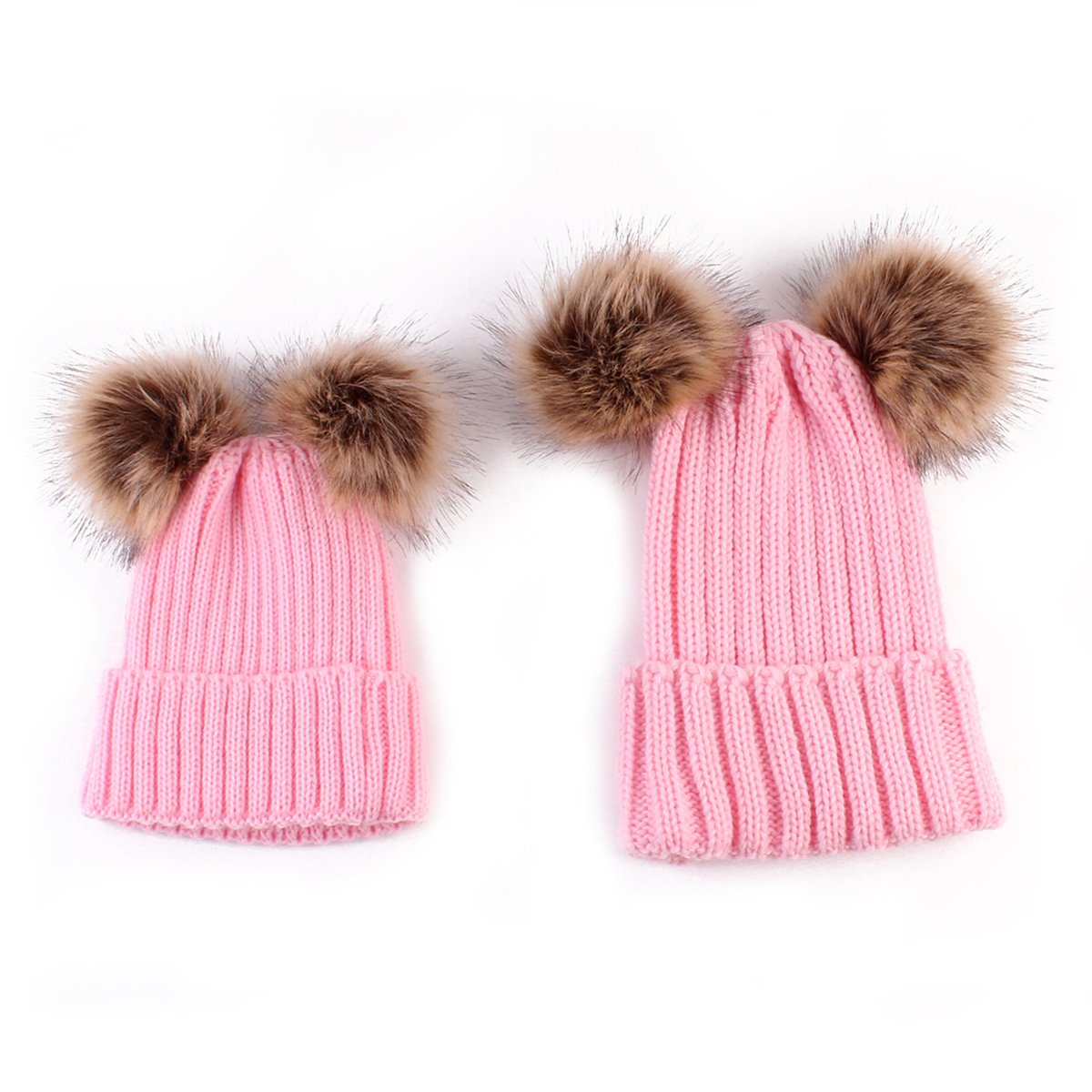 Amazon.com  puseky Family Hats Mother   Baby Winter Warm Knit Crochet Pom  Poms Beanie Caps (Beige 2)  Clothing 6d544cde5bb