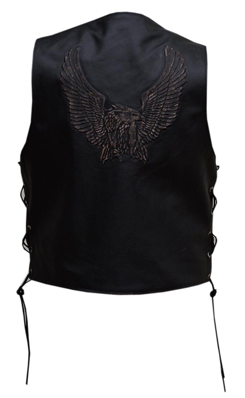 MENS Black LEATHER WAISTCOAT / Biker Vest Eagle EMBOSE - Sides Laced up