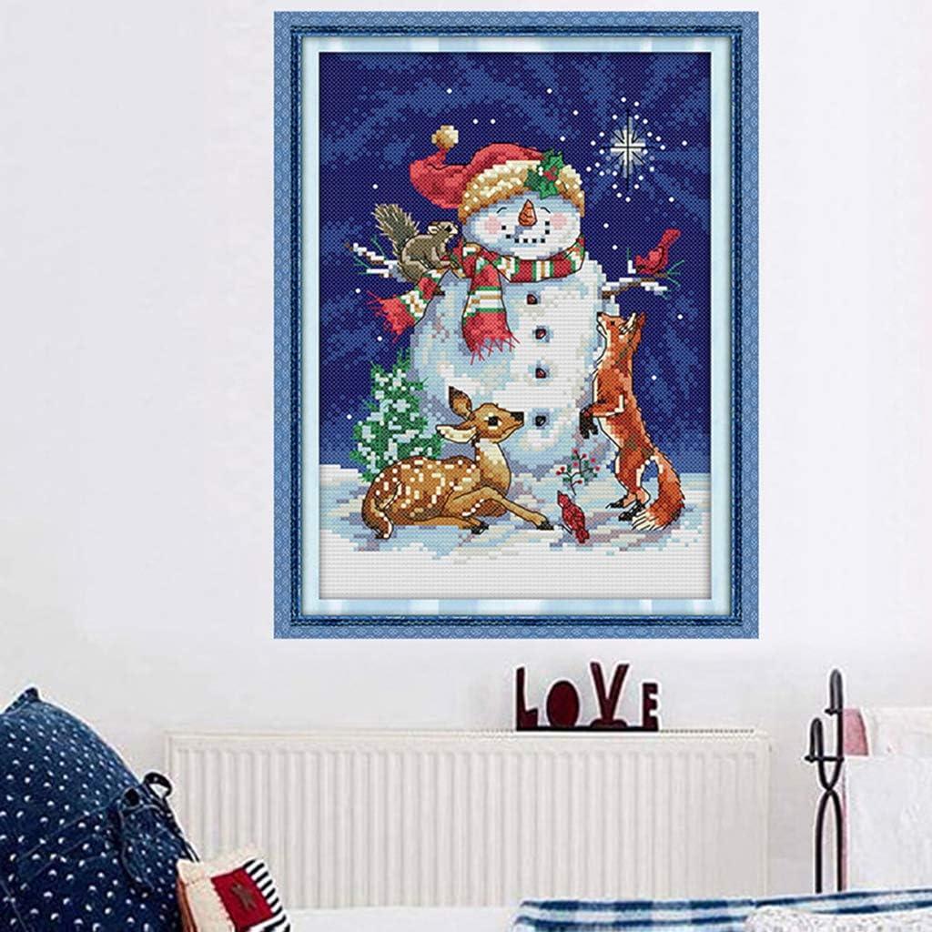 New Year Snowman Stamped Cross Stitch Kit DIY Needlework Wedding Christmas Gifts