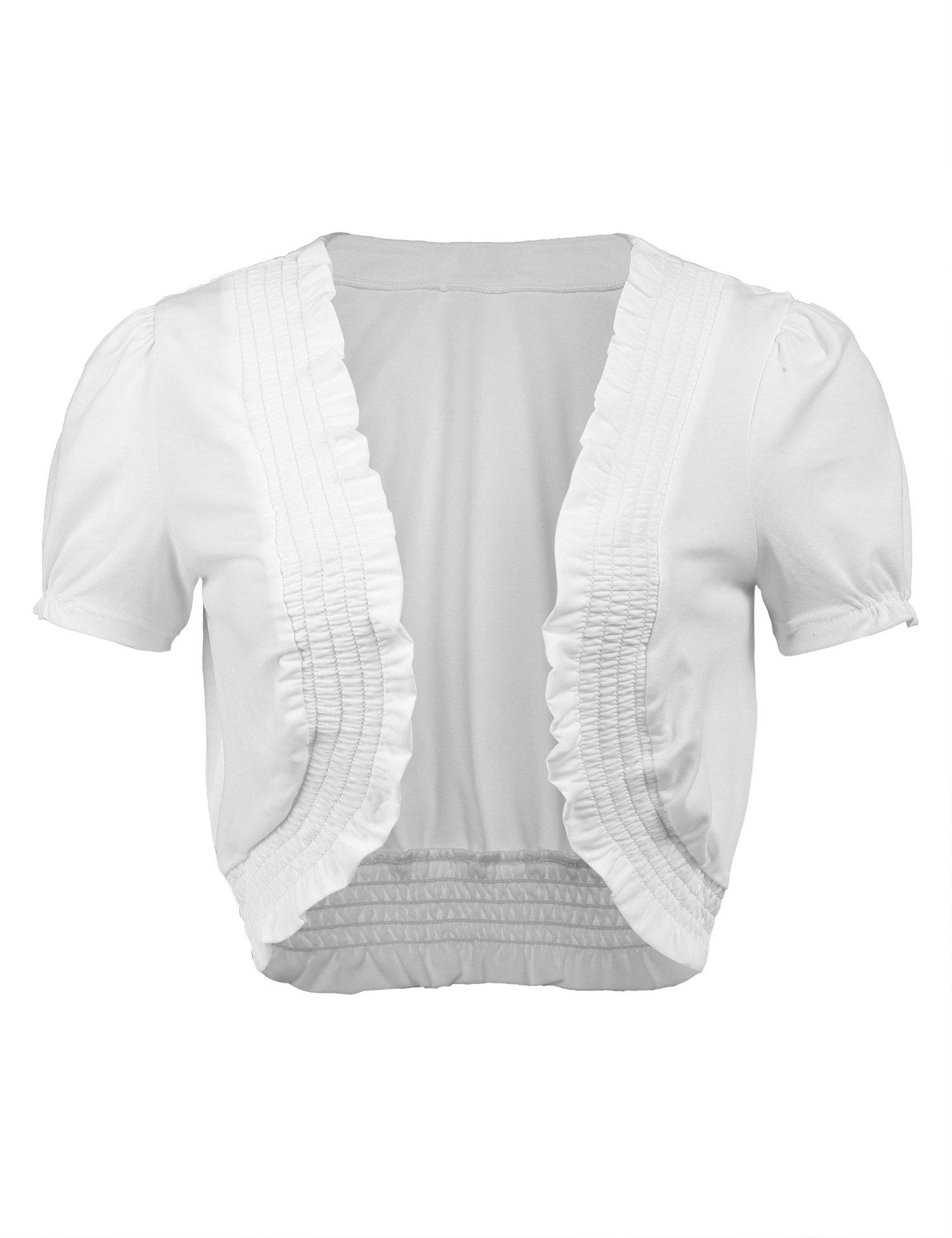 Concep Women's Short Sleeve Cardigan Open Front White Front Shirred Shrug Bolero