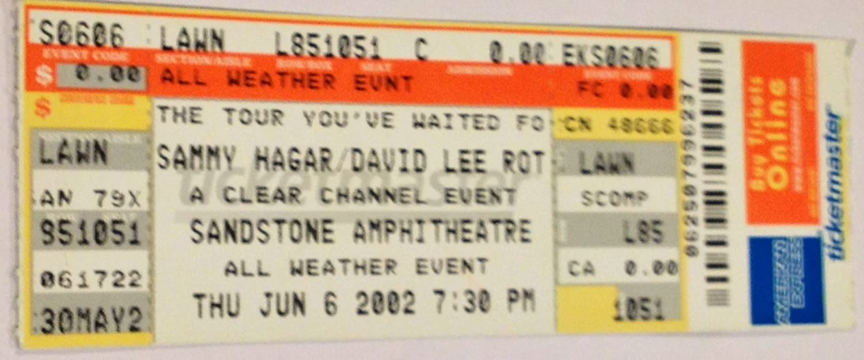 David Lee Roth & Sammy Hagar Bonner Springs, KS 6/6/02 Unused Ticket