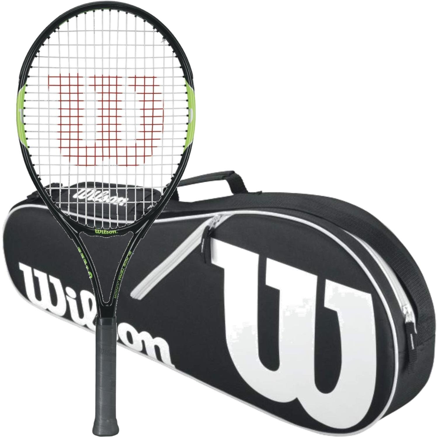 Wilson Blade Team Junior 26 Inch Black/Green Tennis Racquet bundled with a Black/White Advantage II Triple Tennis Bag