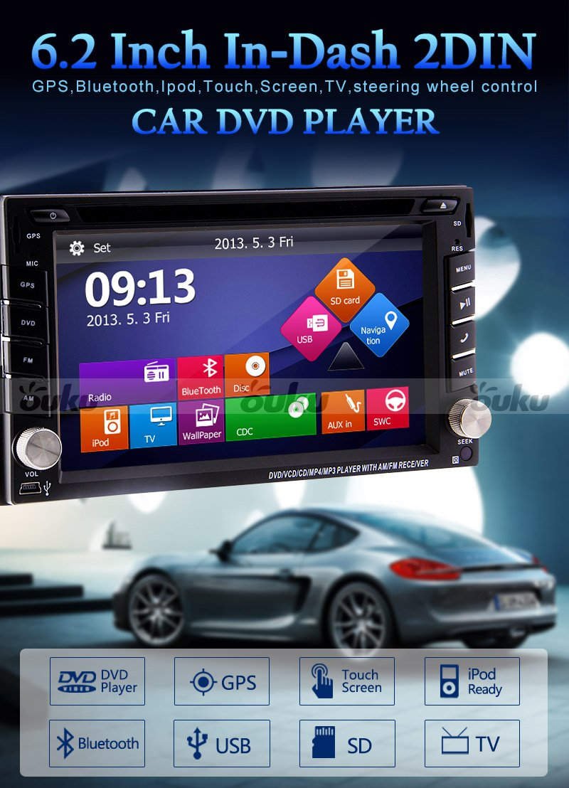 """Amazon.com: Ouku 6.2"""" 2Din LCD TFT in Dash Car DVD Player with DVD/CD/MP3/MP4/USB/SD/Radio/BT/Stereo/Audio  GPS Navigation With Map Card: Car Electronics"""