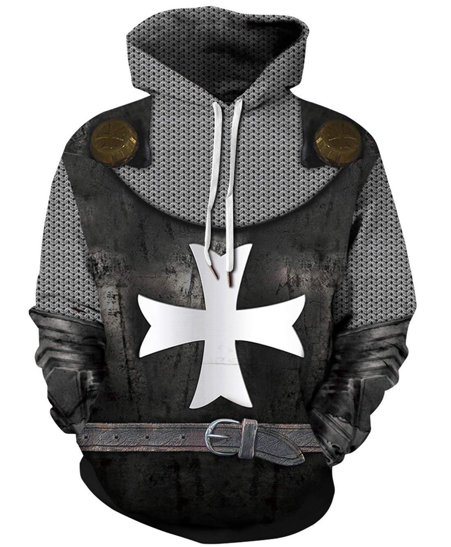 URVIP Unisex Realistic 3D Print Pullover Sweatshirt Hoodies with Big Pockets QYDM-458 S/M by URVIP