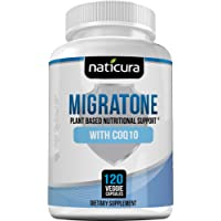 Naticura: Migratone Plant-Based Nutritional Support with COQ10 - Migraine Defense and Stress Relief Supplement with Ashwagandha - 120 Vegan Capsules - Helps Combat Nausea, Tension and Chronic Strain